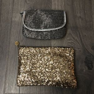 Two sequin / beaded clutches gold silver